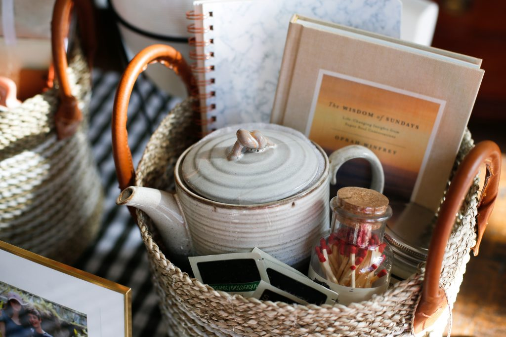 Spiritual Solitude Basket u2013 midnight clay teapot journal a book of short essays candle matches framed photo and I slipped in several wrapped teabags ... & Motheru0027s Day Gift Baskets - Enjoying the Small Things