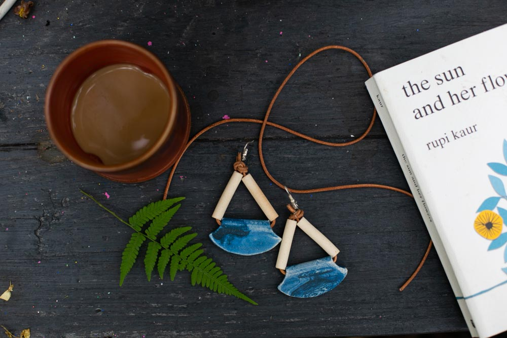I Strung The Terra Cotta Beads And Blue Fan Pendant With Leather Tied On Earring Hooks Wire To Make These Beauties So Easy Fast