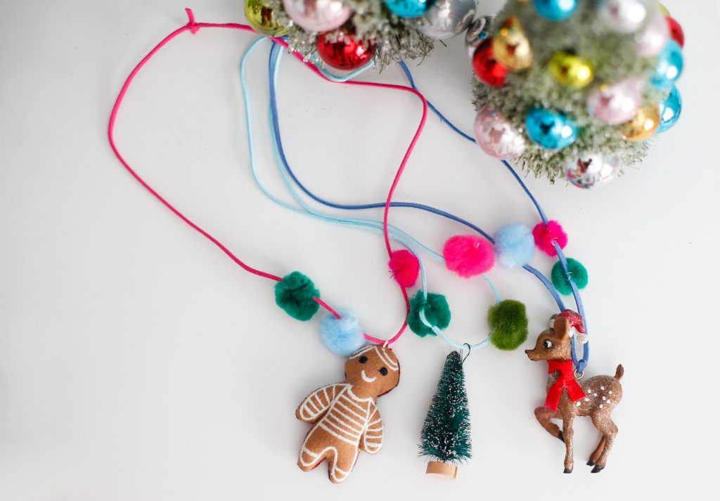 Pompom Christmas Necklace