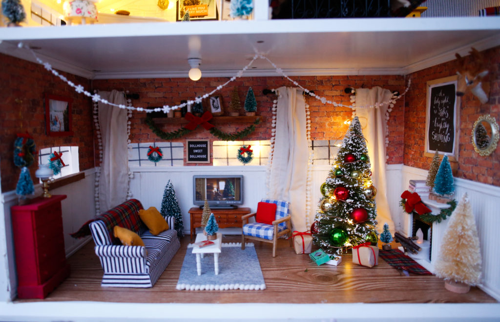 The Hedgehog Dollhouse Decorated for Christmas