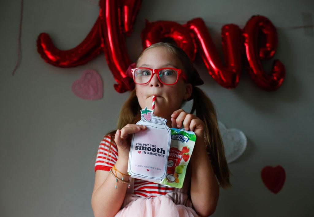 Valentine Smoothie Pouch Printables