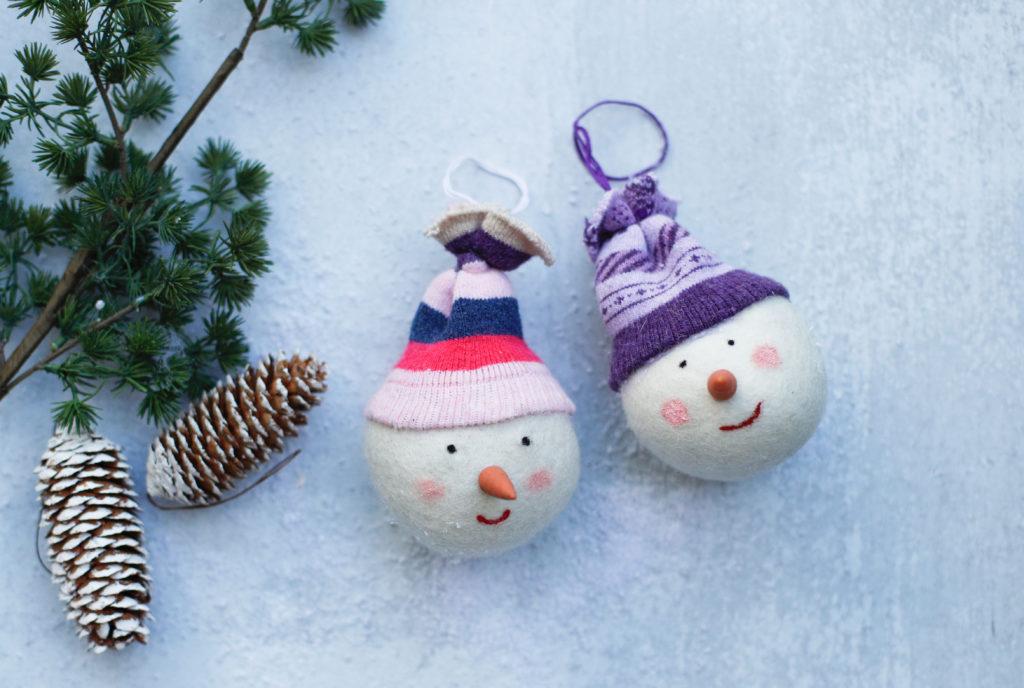 Dryer Ball Snowman Ornaments